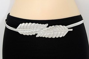 Women Silver Belt Hip Waist Elastic Metal Wide Leaves Buckle Fashion