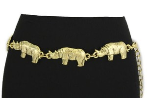 Other Women Belt Fashion High Waist Hip Gold Chain Metal Rhino Animal Narrow