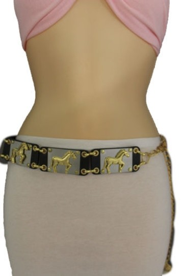 Other Women Belt Gold Metal Horses Charms Plates Black Faux Leather