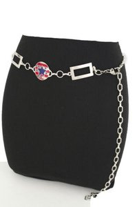 Women Hip Silver Red Blue Usa Texas State Lone Star Flag Metal Belt