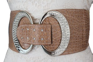 Women Fashion Beige Wide Belt Hip Elastic High Waist Rhinestone Plus