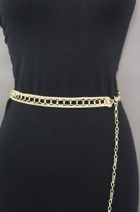 Women Belt High Waist Hip Gold Metal Chains Links Skinny Bling Fashion