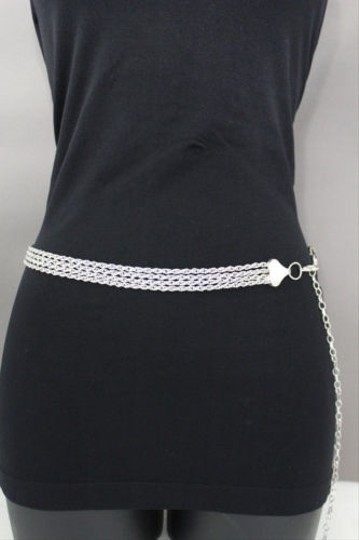 Other Women Belt High Waist Hip Silver Metal Thick Chain Link Strand Fashion