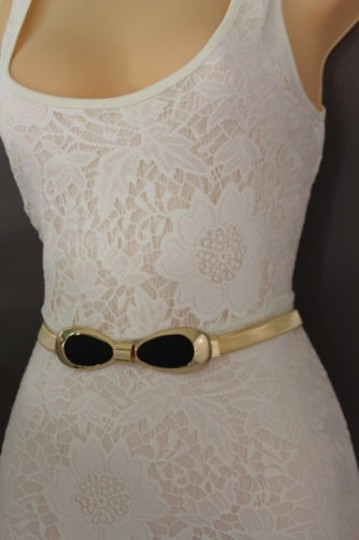 Other Women Belt Hip High Waist Elastic Gold Metal Black Bow Buckle Fashion