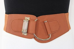 Other Women Elastic Belt Black Gold Brown Beige Hip Waist Hook Buckle Plus