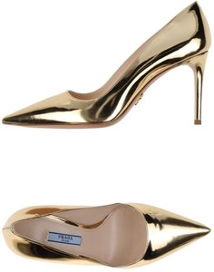 Prada Pointy Toe Metallic Designer Platino (Gold) Pumps