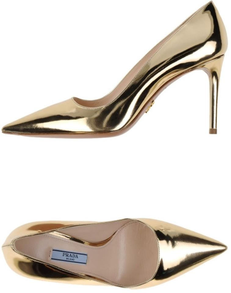 1468f99363db Prada Pointy Toe Metallic Designer Stiletto Pointed Toe Leather Sleek Edgy  Gold Office Modern Evening Salon ...