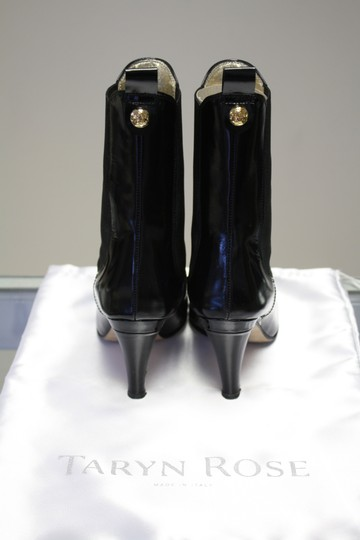 Taryn Rose Size 6 Patent Leather Stretch Side Slip On Black Boots