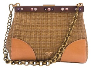 Prada Embellished Woven Evening Brunch Luncheon Straw Jute Leather Panelling Chunky Gold Chain Shoulder Bag