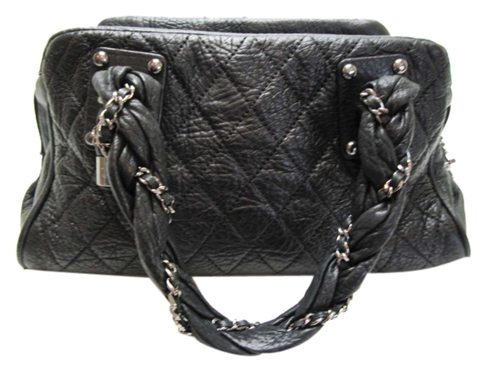 Chanel Lady Braid Distressed Leather Handbag Tote In Black