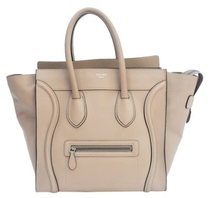16af881744fa Céline Tote Luggage Leather Stamped Suede Satchel in Taupe