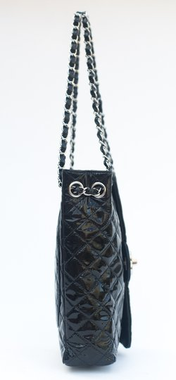 Chanel Silver Hardware Sideways Upside Down Patent Leather Quilted Shoulder Bag
