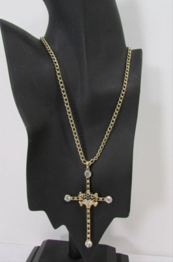 Other Women Necklace Fashion Cross Pendant Metal Chains Gold Silver Black Rhinestones