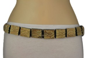 Women Fashion Belt Beige Wood Plates Fashion Black Bow Tie Leaves Beads
