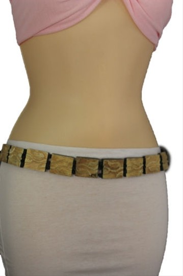 Other Women Fashion Belt Beige Wood Plates Fashion Black Bow Tie Leaves Beads