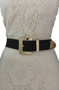 Other Women Elastic Belt Black Brown Leopard Gold Metal Buckle Plus