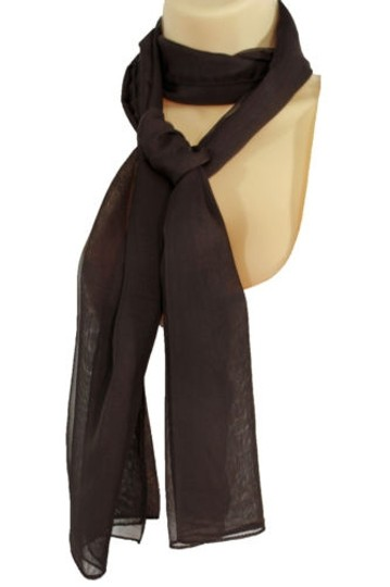 Other Women Classic Soft Fabric Neck Scarf Long Tie Necklace Basic Brown