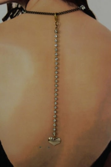 Other N. Women Back Pendant Necklace Gold Jewelry Heart Rhinestone