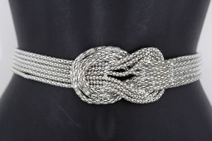 Other Women Fashion Belt Silver Mesh Braided Metal Chain Links Hip High Waist
