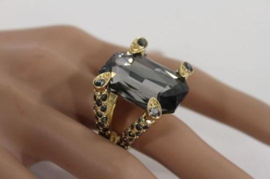 Other Women Plated Fashion Gold Metal Ring Elastic Stone Clear Black Rhinestones