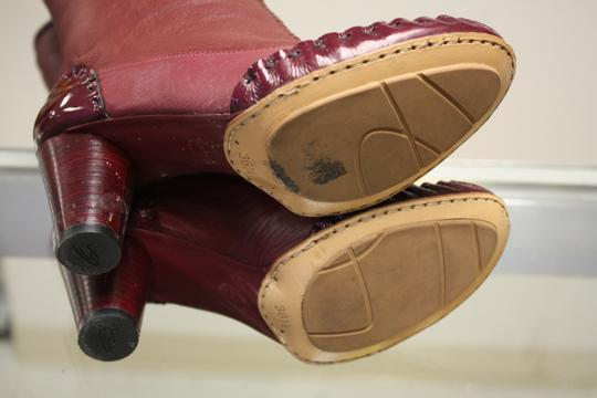 Georgina Goodman Size 6 1/2 Soft Leather Patent Leather Sheep Lining Mina Retails $495 Burgundy Boots