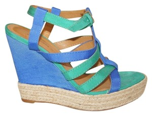 Zara Holiday Resort Grograin Espadrilles Blue and Green Wedges