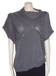 Willow & Clay Draped Neck Knit Cowl Top GRAY
