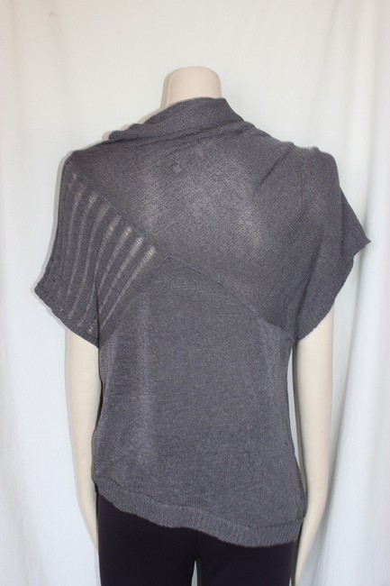 Anthropologie Draped Neck Knit Cowl Top GRAY