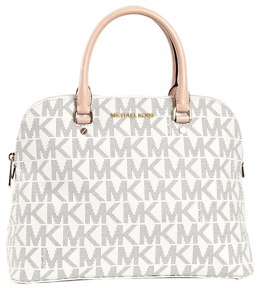 Michael Kors Cindy Signature Medium Dome B3635f Vanilla Logo Pvc Leather Satchel 58% off retail