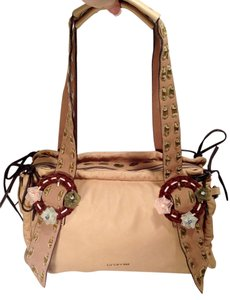 Cromia Leather Italian Made In Italy Italian Leather Suede Velvet Laced Beaded Shoulder Bag