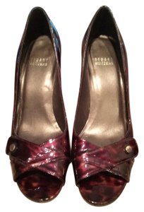 Stuart Weitzman Patent Leather Open Toe Shell Tortoise Pumps