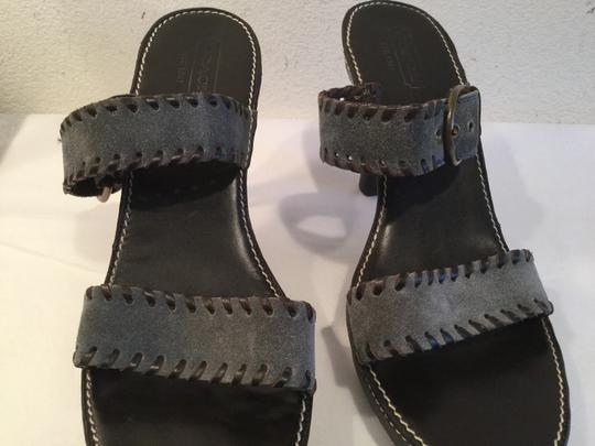 Coach Adjustable Buckle $20 OFF Gray suede leather leather lining Topstitch platform Sandals