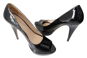 Prada Heels Peep Toe Business Classic Patent Leather Black Pumps