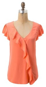 Anthropologie Maeve V Neck Ruffle Top Coral
