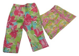 Lilly Pulitzer 4t Skirt Capri Capris Girls Toddler Summer Designer Pink Green Alligator Parrot Parot Aqua Vacation Florida Preppy Pants