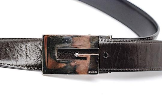 Gucci GUCCI Dark Brown 100% Leather Belt w/Silver Logo'd Buckle - WONDERFUL - 80/US32