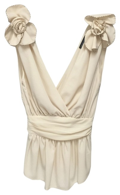 French Connection Rosette V-neck Top Ivory