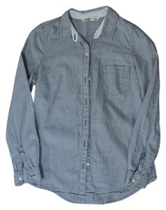 Old Navy Striped Grey Button Down Shirt white, gray