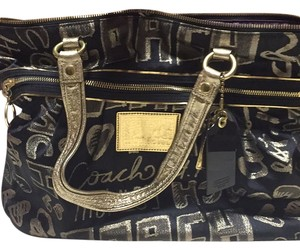 Coach Tote in Black And Gold