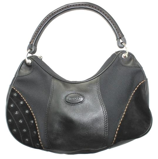 Preload https://item1.tradesy.com/images/tod-s-and-handbag-black-leathercanvas-hobo-bag-6208165-0-0.jpg?width=440&height=440