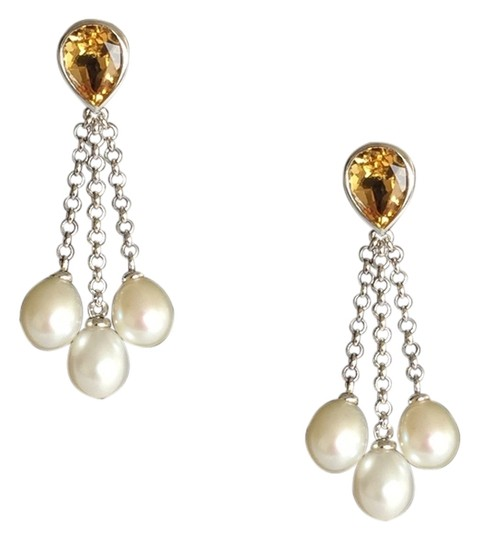 Savvy Cie Citrine & White Oval Cultured Pearl Drop Earrings Silver Post