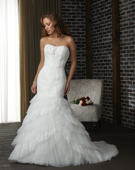 Bonny Bridal Ivory Tulle/Lace Fitted Mermaid and Dress Size 10 (M)