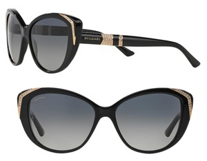 BVLGARI Polarized Bvlgari Sunglasses Swarovski Cate Eye Black Gold Limited Edition 8151 BM Women