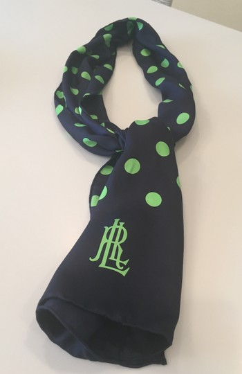 Ralph Lauren Navy blue lime green polka dot scarf
