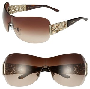 BVLGARI Bvlgari Sunglasses Swarovski Crystal Shield 2015 Limited Edition Oversize Aviator Sunglasses Ski 6071 Rimless
