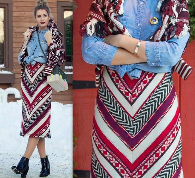 Zara Ethnic Boho Blanket Skirt Red Multi