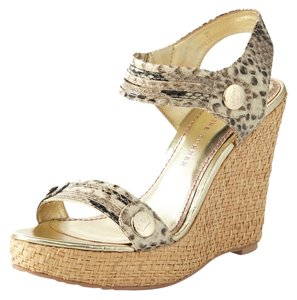Elaine Turner Python Animal Print Wedge Grey beige Wedges