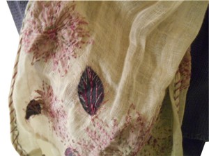 Artsy Purples Pinks Natural Earthy Scarf Embroidery Long