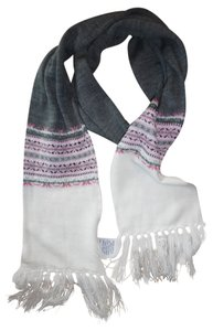 Fair Isle Nordic Sparkly Striped Fringed Scarf