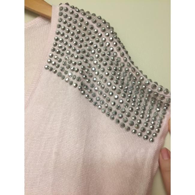 Express Rhinestone Embellished Studded T-shirt Casual Sparkle Bright Spring Winter Fall Fitted Textured Detail Shoulder Rayon Hi Sweater